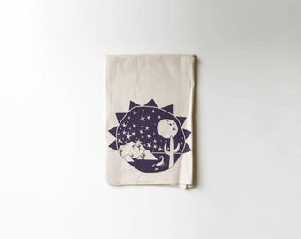 Southwest Explorer Flour Sack Tea Towel | Cactus | Stars | Scorpion | Moon | Sun | Printed | Absorbent Dish Rag | Cotton | Housewarming