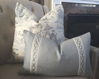 """Solid heavy weight linen pillow cover with attached greek key trim in grey - 12""""x20"""" - Ready to ship"""