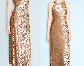 Nina Austin 1990s Velvet Sleeveless Tiger Print Maxi Dress Gown Size Small