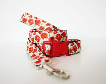 Poppy Dog Collar or Matching Lead Seat Belt