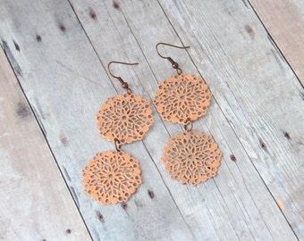 A U T U M N - Coral Peach Lace Flower, Hand Painted Filigree, Copper Dangle Earrings