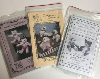 Bears and Lambs Sewing Pattern bundle Teddy Baby, Lullabye, Tender Hearted Teddies. Plush/doll/stuffies. Three