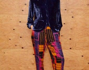 Vintage 90's purple crushed velvet blouse S super soft silk rayon