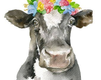 Black and White Cow Floral Crown Watercolor Painting Giclee Print 8 x 10 (8.5 x 11) Fine Art Nursery Print Girls Room Farm House