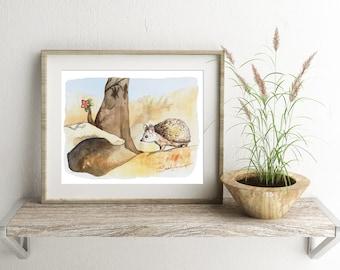 Desert Hedgehog - ALL Proceeds to Charity, Refugee Aid - digital download printable art, hedgehog art print, animal art desert decor