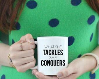 What She Tackles, She Conquers Coffee Mug Coffee Mug  / black and white coffee mug - ceramic - luke's diner - Gilmore Girls Rory Richard