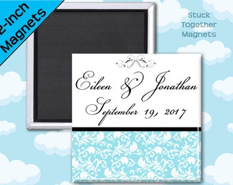 Wedding Favor Magnets - Elegant Blue - 2 Inch Squares - Set of 10 Magnets