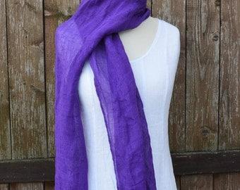 Purple linen scarf, women scarf, summer scarf, spring scarf, european linen, violet scarf, mens linen scarves