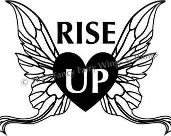 RISE UP Winged Heart Cutting Files for Stickers, T-shirt Transfers and More