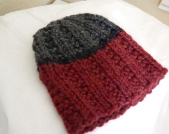 Grey and Dark Red Handknit Beanie Hat for teen boys - Ready to Ship