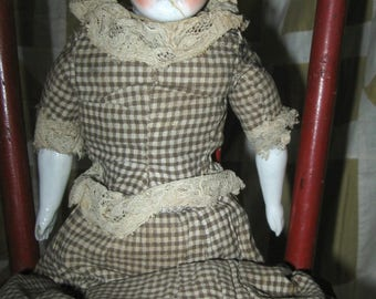 Primitive Antique German China Head Doll Head Homespun Dress