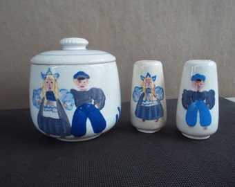 Vintage Handpainted Ceramic Dutch Boy and Girl Canister and Salt and Pepper Set
