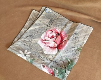 Vintage Handkerchief, 50's Hankie, Gray Floral with Red and Pink Roses, NOS Deadstock Nelo Swiss Made, Unused