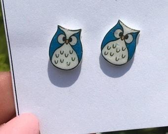 Owl Earrings - Cartoon Owls in Blue - Nickle free earrings