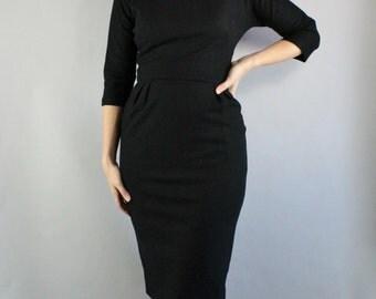 Vintage 1950s 50s Women's Black Soft Wool Audrey Hepburn Wiggle Hourglass Joan Wear to Work Winter Little Black Dress