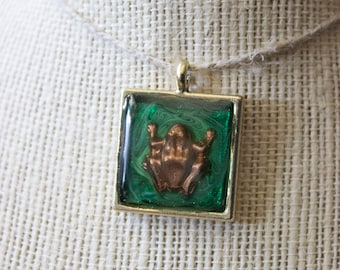 Copper Frog Charm Epoxy Pendant