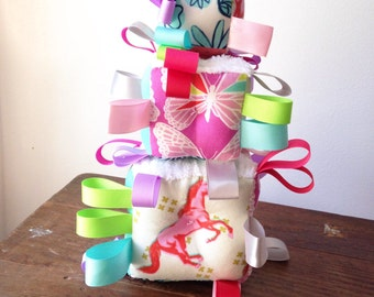 Pink Horse Baby Block, Colorful Baby Shower Toy, Aqua Periwinkle Lavender Lime Green, Ribbon Rattle Sensory Toy, Butterflies Flowers Crosses