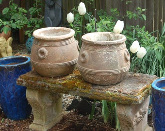 2 Antique Hand Crafted 50 lbs. Jardiniere / Bean Pot Cement Garden Planters / Pots / Jugs / Urns w/ Weathered Aged Patina w/ finger prints