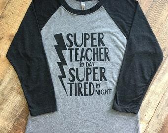 SUPER TEACHER ADULT t shirt - unisex - raglan tshirt - Teacher gift - Valentines Day Gift - Superkidcapes - Quantity Discount