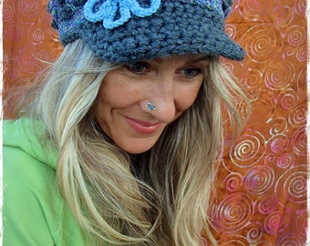 GREY Purple and BLUE Visor Beanie Crochet hat Sky Blue FLOWER brim hat Hippie Boho Winter hat womens hats girls hats Brimmed beanie GPyoga