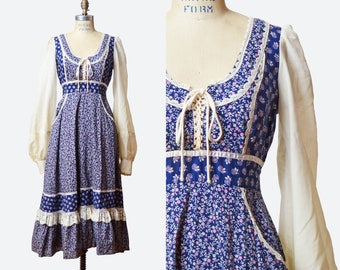 Vintage 70s GUNNE SAX DRESS / 1970s Corset Lace-Up Navy Blue Floral & Lace Midi, xs s