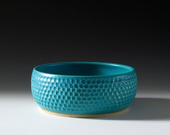 Hand carved stoneware planter / bowl with turquoise glaze 16-074