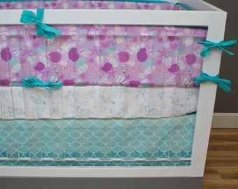 Mermaid Crib Bedding, Girl Bedding Baby Cribset, Custom Baby Bedding, Green Teal Lilac Lavender Ocean Scales Seashells Starfish Purple