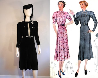 It'll All Make Sense in a Minute - Vintage 1930s Black Silk Velvet Dress w/Rhinestone Details - 6/8