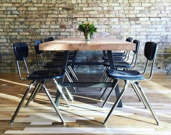 """Urban Industrial 2.5"""" thick reclaimed wood table, natural finish in first pic-your choice of leg style, color, size, top thickness/finish"""