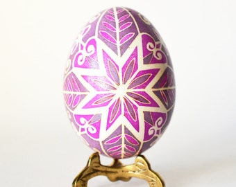 Christmas gift for her Pysanka chicken egg Ornament Pink flower hand painted eggs Polish pisanki unique handcrafted adornment