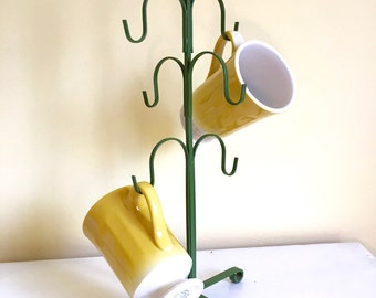 Vintage Green Mug Tree, Metal Mug Holder, Mid Century Kitchen, Avocado Green