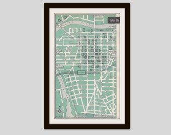 Dayton Ohio Map, City Map, Street Map, 1950s, Green, Black and White, Retro Map Decor, City Street Grid, Historic Map
