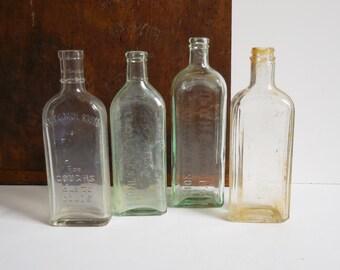 4 Vintage bottles antique bottles Doctor Apothecary Medicine Monticello IL  Miles Laboratories etc. collection