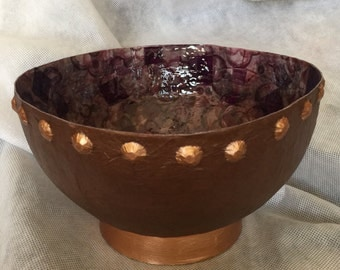 COPPER and lavender resined Paper Maché bowl