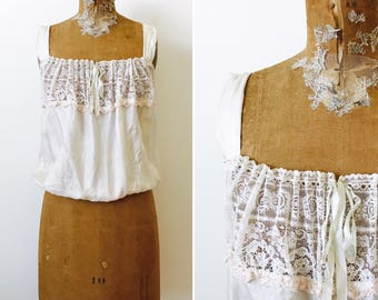 Vintage 1920s Lace Camisole/Pastel Pink Embroidered French Knots /Cream Color/Silk Ribbon/Vintage Bridal/Vintage Wedding