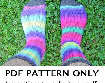 Knitting Pattern - Sock Knitting Pattern - Comfy Socks Pattern - Rainbow Socks - the P-TOWN Socks (Child, Adult small, Adult large sizes)