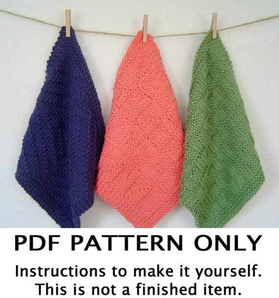 Washcloth Knitting Patterns For Beginners : Knitting Pattern Dishcloth Knitting Pattern Washcloth