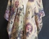 PASSION FLOWER Handmade Crinkle Silk Caftan Kimono Duster, Boho Caftan Robe, Boho Caftan Kimono, Beach Resort Caftan Kimono, One-of-a-Kind