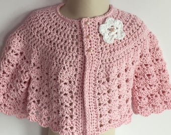 Crochet Cotton Baby Sweater Pale Pink 6 months