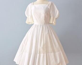 Vintage 1950s Cotton Dress...JUNIOR SET White Cotton Garden Party Dress City Hall Wedding