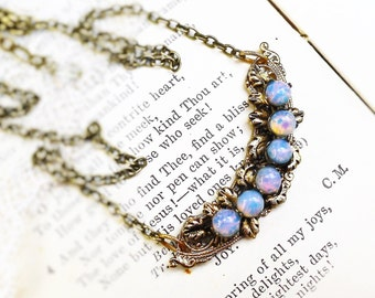 Opals & Filigree, Vintage Glass Fire Opal and Filigree Crescent Altered Vintage Assemblage Opal Necklace by Hollywood Hillbilly