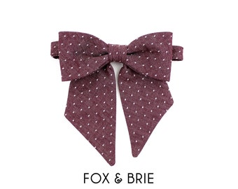 Purple Dot Pussybow Lady Bow Tie