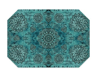Bohemian placemat, turquoise placemat, teal, boho, printed lace pattern, cloth placemat, washable polyester fabric placemat, table linens