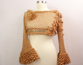 Crop Top Sweater, Cropped Sweater, Boho,  Lace Crop Top, Cropped  Top Wedding, Crochet Top, Off Shoulder Top, Gold Beige Shirt, Lace Blouse