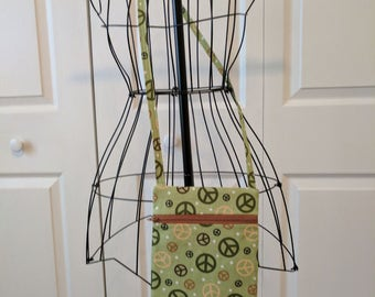 Handmade Peace Sign  Cross Body Sling Bag