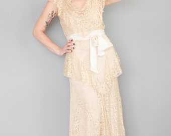 Vintage 1930s Lace Wedding Gown - 30s Lace Dress - Antique Lace Gown