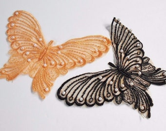 Butterfly Appliques Black Lace and Peach Color Large Beaded  Sew On, Butterfly Motifs Patches 6x4 Lot of 2
