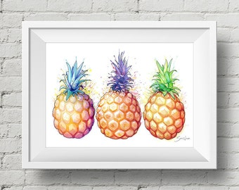 Fat Pineapples : print hawaiian pineapple tropical fruit watercolor painting