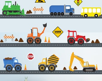Construction Decal, Trucks Roads Decal, Construction Decal, Fabric Decals, 24 FEET of Roads Dirt Roads, A229