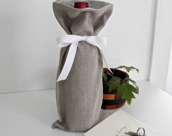 Wine Bag, Linen Wine Bag, Wine Gift Bag, Bottle Bag, Gift Bag, Tote